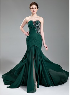 Trumpet/Mermaid Sweetheart Court Train Chiffon Prom Dress With Ruffle Lace Beading Sequins Split Front