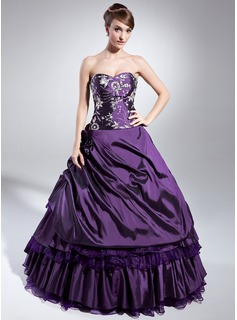 Ball-Gown Sweetheart Floor-Length Taffeta Organza Quinceanera Dress With Embroidered Beading Sequins Cascading Ruffles