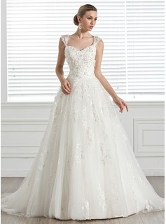 Ball-Gown Sweetheart Court Train Tulle Wedding Dress With Beadwork Appliques Flower(s)
