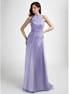 A-Line/Princess Halter Sweep Train Tulle Evening Dress With Ruffle Beading