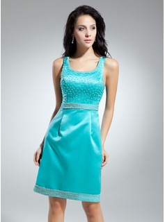 Sheath Scoop Neck Knee-Length Satin Cocktail Dress With Beading