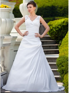 A-Line/Princess V-neck Court Train Taffeta Lace Wedding Dress With Ruffle