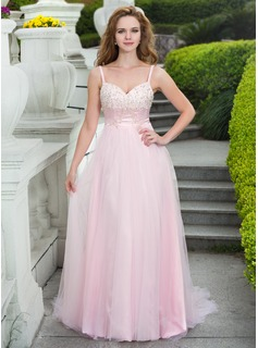 A-Line/Princess Sweetheart Court Train Tulle Prom Dress With Lace Beading