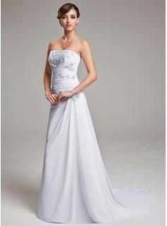 A-Line/Princess Strapless Court Train Chiffon Wedding Dress With Ruffle Lace (002004166)