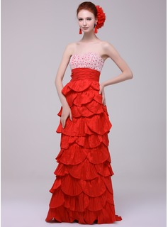 Empire Sweetheart Sweep Train Taffeta Evening Dress With Lace Beading Cascading Ruffles Pleated