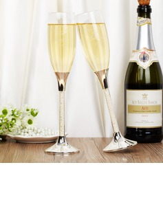Personalized Elegant Glass Toasting Flutes (Set of 2)