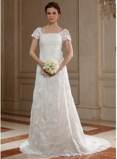 A-Line/Princess Square Neckline Court Train Organza Wedding Dress With Lace Beadwork
