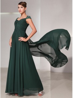 A-Line/Princess Sweetheart Watteau Train Chiffon Prom Dress With Ruffle Lace Beading