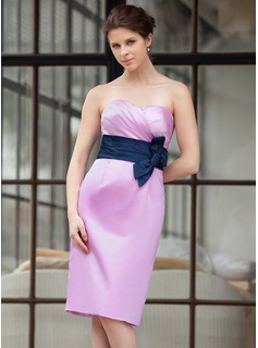 Sheath/Column Sweetheart Knee-Length Satin Bridesmaid Dress With Ruffle Sash Bow(s)