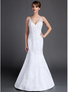 Mermaid V-neck Court Train Satin Wedding Dress With Lace Beadwork