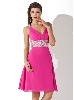 A-Line/Princess V-neck Knee-Length Chiffon Cocktail Dress With Beading (016008381)