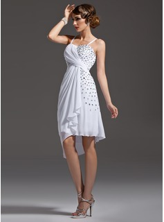 Sheath Sweetheart Asymmetrical Chiffon Cocktail Dress With Ruffle Beading (016021186)