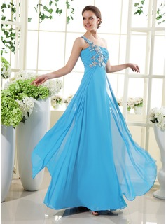 A-Line/Princess One-Shoulder Floor-Length Chiffon Holiday Dress With Ruffle Beading Appliques (020015432)