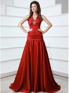 A-Line/Princess V-neck Sweep Train Satin Evening Dress With Ruffle Beading