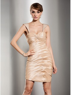 Sheath Sweetheart Short/Mini Taffeta Cocktail Dress With Ruffle Beading (016014485)