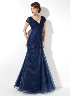 Trumpet/Mermaid V-neck Floor-Length Organza Mother of the Bride Dress With Ruffle Lace Beading Sequins
