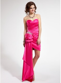 Sheath/Column Sweetheart Asymmetrical Charmeuse Prom Dress With Ruffle Beading Appliques Lace