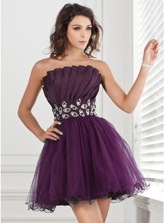 A-Line/Princess Scalloped Neck Short/Mini Taffeta Tulle Homecoming Dress With Ruffle Beading Sequins (022013089)