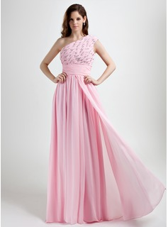 A-Line/Princess One-Shoulder Floor-Length Chiffon Holiday Dress With Ruffle Beading (020015785)
