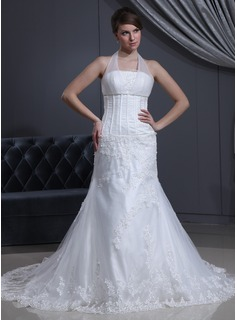 A-Line/Princess Halter Chapel Train Satin Tulle Wedding Dress With Ruffle Lace