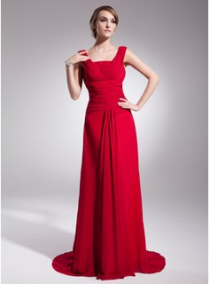 A-Line/Princess Square Necklin Court Train Chiffon Evening Dress With Ruffle (017014519)