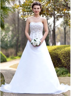 A-Line/Princess Strapless Chapel Train Organza Satin Wedding Dress With Embroidery Beading Sequins