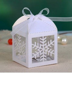 Snow Cut-out Favor Boxes With Ribbons (Set of 12)