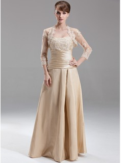 A-Line/Princess Sweetheart Floor-Length Taffeta Bridesmaid Dress With Ruffle Lace Beading