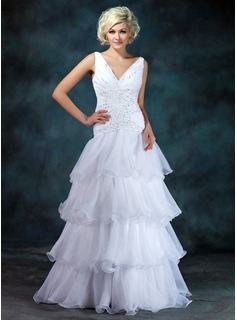 A-Line/Princess V-neck Floor-Length Organza Satin Wedding Dress With Ruffle Beadwork Sequins