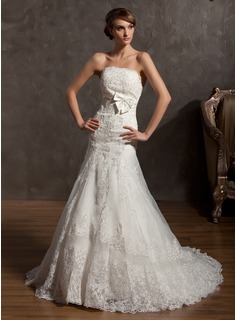 A-Line/Princess Strapless Court Train Organza Satin Wedding Dress With Lace Bow(s)