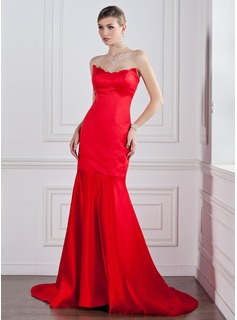 Mermaid Sweetheart Court Train Satin Evening Dress