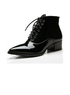 Patent Leather Low Heel Pumps Ankle Boots shoes