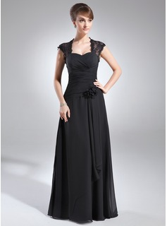 A-Line/Princess Sweetheart Floor-Length Chiffon Lace Mother of the Bride Dress With Ruffle Beading Flower