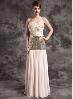 A-Line/Princess Strapless Floor-Length Chiffon Charmeuse Sequined Holiday Dress With Ruffle