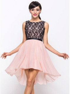 A-Line/Princess Scoop Neck Asymmetrical Chiffon Charmeuse Lace Cocktail Dress