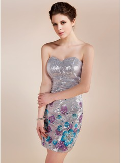 Sheath Sweetheart Short/Mini Sequined Cocktail Dress With Beading Flower(s)