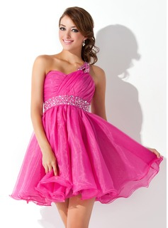 Empire One-Shoulder Short/Mini Organza Homecoming Dress With Ruffle Beading