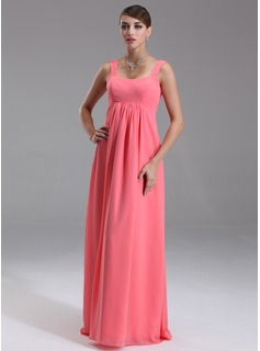 Empire Scoop Neck Floor-Length Chiffon Maternity Bridesmaid Dress With Ruffle (045004385)