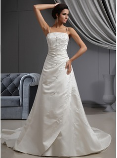 A-Line/Princess Cathedral Train Satin Wedding Dress With Embroidered Ruffle Beading