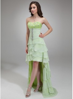 A-Line/Princess Sweetheart Asymmetrical Chiffon Charmeuse Holiday Dress With Ruffle Beading