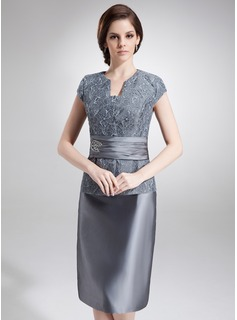 Sheath/Column V-neck Knee-Length Taffeta Lace Mother of the Bride Dress With Beading