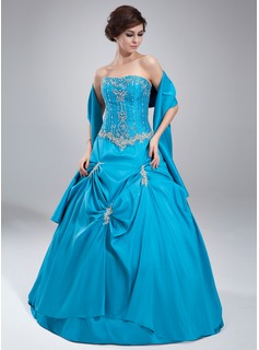 Ball-Gown Strapless Floor-Length Taffeta Quinceanera Dress With Ruffle Lace Beading