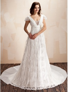 A-Line/Princess Square Neckline Watteau Train Chiffon Lace Wedding Dress With Ruffle Beadwork Flower(s)