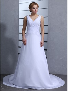 A-Line/Princess V-neck Chapel Train Chiffon Wedding Dress With Ruffle Beadwork Sequins (002012823)
