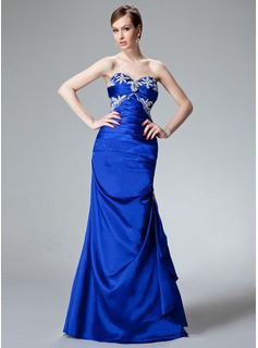Mermaid Sweetheart Floor-Length Charmeuse Evening Dress With Ruffle Beading