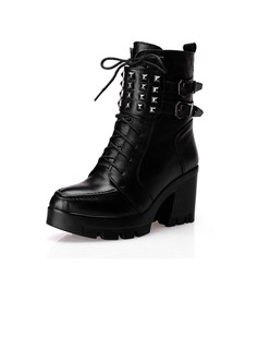 Real Leather Chunky Heel Ankle Boots Martin Boots With Rivet shoes