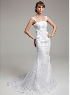 Mermaid Court Train Satin Tulle Wedding Dress With Lace Beadwork
