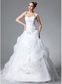 Ball-Gown Sweetheart Chapel Train Organza Satin Wedding Dress With Embroidery Ruffle Beading Sequins