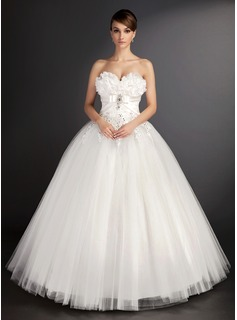 Ball-Gown Sweetheart Floor-Length Satin Tulle Wedding Dress With Lace Beadwork Sequins