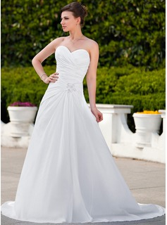 A-Line/Princess Sweetheart Court Train Taffeta Wedding Dress With Ruffle Lace Beadwork (002012023)